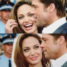 angelina jolie looking at brad pitt Brad And Angelina, Brad Pitt And Angelina Jolie, Jolie Pitt, Hollywood Music, Mr And Mrs Smith, Olay Regenerist, Cinema, 90s Movies, Star Wars