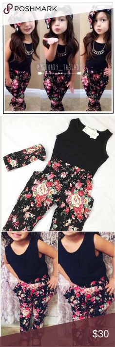 "Girl's 2 Set Floral Outfit Girls floral fashion set with headband, complete outfit. Great for the summer. Top is a black, pants have a floral pattern and pockets on each side. Waistband stretches.  Measures Top Bust: 11"" Hem: 13"" Length: 16""  Measures Bottoms Waist: 9"" (stretches to 12"") Inseam: 14"" Length: 21""  Measures Headband  9""  🎀NWT (Boutique) 🎀Smoke/Pet Free 🚫No Trade Shirts & Tops Tees - Short Sleeve"