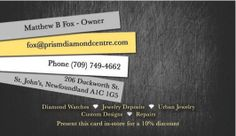 Here's the Back Side of the business card that Cizastudios.com created for Prism Diamond Centre. Urban Jewelry, Centre, Custom Design, Graphics, Graphic Design, Diamond, Business, Cards, Diamonds