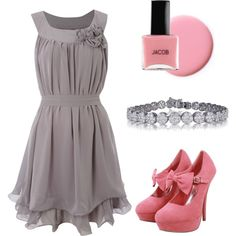 Pink & Gray, created by propelunam on Polyvore