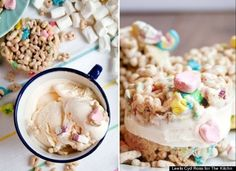 16 ice cream sandwich recipes - pictured is lucky charms ones!!  yum!