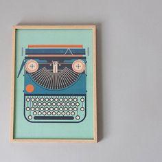 A4 Green Typewriter Print