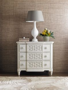 A new cottage essential. Playfully organic shapes and iconographic decorations contemporize the Cypress Grove Bachelor's Chest. The stylized honeycomb pattern is re-imagined and symbolic of the inviting essence of this modern cottage look. | Stanley Furniture