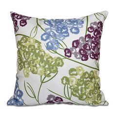 Chenango Hydrangeas Floral Print Outdoor Throw Pillow | Wayfair