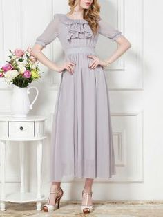 Shop Ruffle Embellished Front Maxi Dress in Pastel Gray from choies.com .Free shipping Worldwide.$36.99
