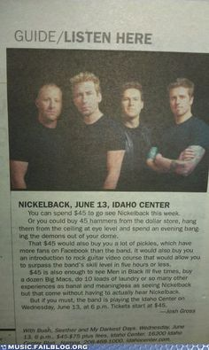 Music FAILS - Music FAILS: What You Can do With the Money You Don't Spend on Nickelback