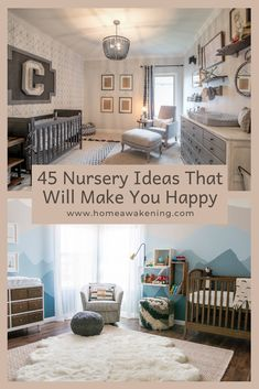 Check out these 45 amazing nurseries Diy Interior, Interior And Exterior, Interior Design, Kids Room Design, Nursery Design, Kitchens And Bedrooms, Kid Beds, Home Staging, Nurseries