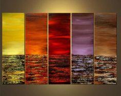 """Riesige bunte moderne Landschaft abstrakt Original Acrylbild von Osnat - Bestellung - 60 """"x 36"""""""
