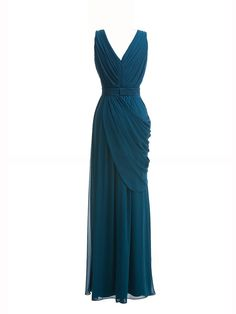 V-neck Pleated Dress; Color: Winter Teal; Sizes Available: 2-26W, Custom Size; Fabric: Chiffon