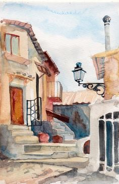 Calcata, Italy - giclee print of an original watercolor x in) Watercolor Architecture, Watercolor Landscape, Watercolor Print, Watercolour Painting, Architecture Art, Painting & Drawing, Watercolor Ideas, Pen And Wash, Fairytale Art
