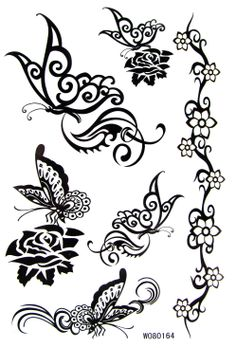 [Sophie Beauty]  35 tattoo stickers waterproof tattoo stickers black and white butterfly wo80164  free shipping