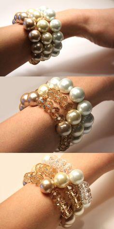 Cream Peach Crystal and Pearl Bracelet 16mm by KapKaDesign on Etsy, $33.00
