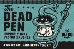 The Dead Pen brush pack is a collection of 62 brushes (pattern, scatter, lines, and swatches) that make it easy and fun to create your own liner pen inspired work.