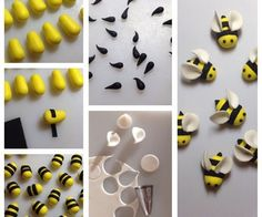 Bumble Bee Cupcake Toppers: Want to make some bees to decorate your cakes or cupcakes!You will need:Yellow sugarpasteBlack sugarpasteWhite sugarpasteSmall circle cutter or piping tipSmall rolling pinSharpe knife or scalpelEdible gluePicture of Bumble Bee Cake Decorating Techniques, Cake Decorating Tips, Cookie Decorating, Bumble Bee Cupcakes, Ladybug Cupcakes, Kitty Cupcakes, Valentine Cupcakes, Snowman Cupcakes, Giant Cupcakes