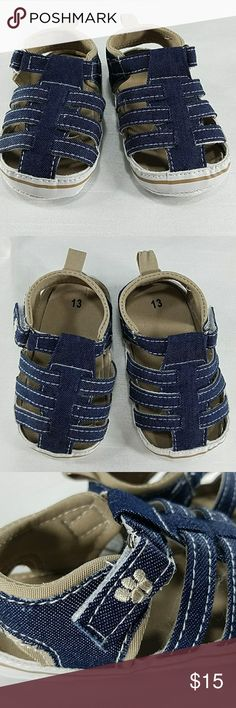 Blue and tan soft bottom infants shoes.  Kids Adorable soft bottom infants shoes with Velcro.  Measures 5 inches. Size 5, fits 12- 18m. Shoes Baby & Walker