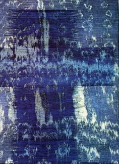 ed rossbach incorporated ikat into this weaving - no easy feat as the warp was 18' long for this piece.    also if you have not seen this ikat time lapse video please do so right now.    (from the dyer's art: ikat, batik and plangi by jack lenor larsen, 1976)