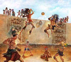 Juego de pelota. ¡Era muy popular! La pelota de hule era golpeada solamente por  la cadera y tenía que pasar por el centro de un  círculo adosado a una de las paredes.