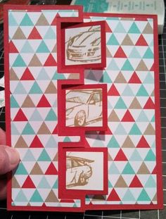 Hmlopez, need for speed, stampin up, fresh prints, sizzix triple square flip-it framelits.