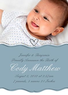 A baby boy birth announcement. Customize it with your baby's photo ...