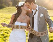 MR & MRS Rustic Wedding Banners, Chair Signs, Photo Booth Prop, Garland. $14.95, via Etsy.