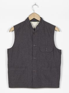 Universal Works Battle Waistcoat in Grey Cotton Suiting