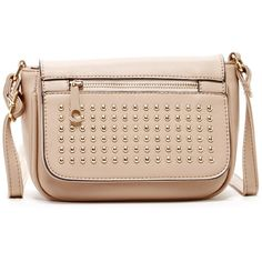 Yoki Studded Zip Pocket Flap Crossbody ($20) ❤ liked on Polyvore featuring bags, handbags, shoulder bags, nude, nude handbags, pink shoulder bag, zip shoulder bag, crossbody shoulder bag and nude purses
