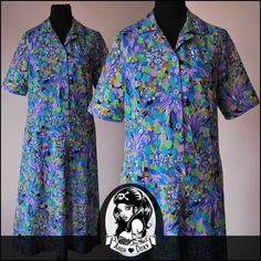 Vintage 1960s MOD Printed Shirtfront Twiggy Smock Scooter SKA Dress Size 14