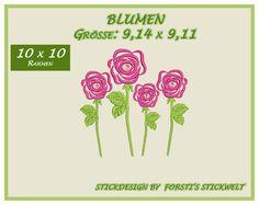 Stickmuster - Stickdatei / Stickmuster Blume - ein Designerstück von Forstis-Stickwelt bei DaWanda