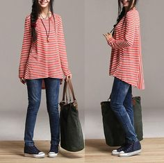 Red and white striped cotton backing shirt / irregular by dreamyil