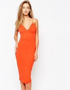 Missguided Plunge Neck Sexy Midi Dress