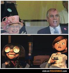 Parecidos razonables: Reina Isabel II de Inglaterra y Edna Moda (los increíbles).