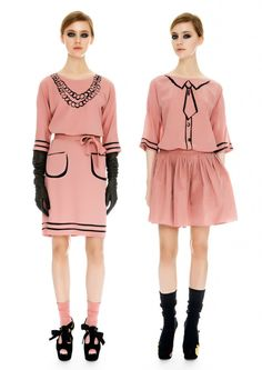 Moschino Cheap and Chic Pre-Fall 2012 collection - a sort of copy of the 1952 Hermes line seen here: http://pinterest.com/pin/105060603777100330/   I LOVE it!