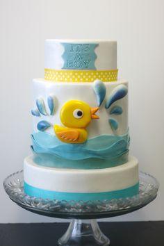 Baby Shower - rubber duckie baby shower cake