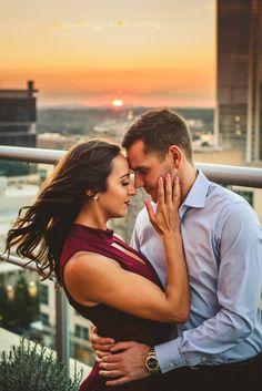 Sunset engagement photo inspirations | Charlotte wedding, dramatic, engagement,  romantic, Uptown, red | Photographer @Robpluskristen