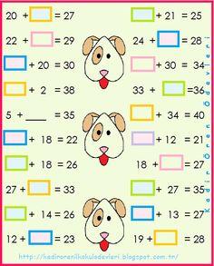 ilkokul ödevleri: 2. sınıf toplamada verilmeyen 2 2nd Grade Math, First Grade, Second Grade, Addition And Subtraction Worksheets, Homeschool Math, Math For Kids, Activity Centers, Algebra, Math Activities