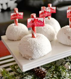 Holiday With Hostess Snacks table North Pole Sno Ball treats #HostessHoliday #HostessHolidaySweeps #spon