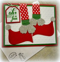 She used Christmas Messages with the retired tag punches, Top Note Die, Silver Glimmer Paper, & more. Christmas Paper Crafts, Homemade Christmas Cards, Christmas Cards To Make, Homemade Cards, Handmade Christmas, Holiday Cards, Christmas Elf, Christmas Punch, Holiday Decor