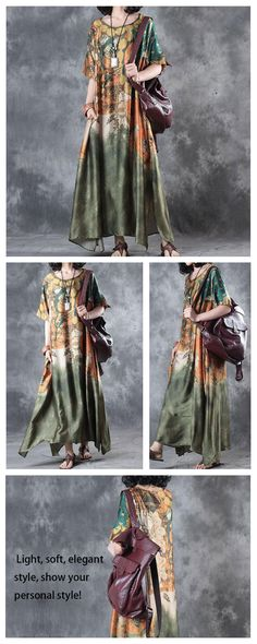 Wanna dress in literature style? Try this retro green long dress! Diy Fashion, Fashion Outfits, Fasion, Hand Painted Dress, Linen Dresses, Plus Size Outfits, Vintage Outfits, Cool Outfits, Literature