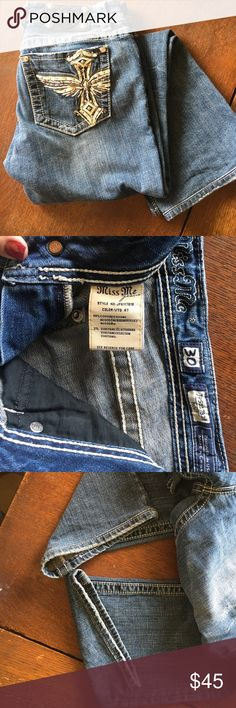 "MissMe jeans Sz30 MissMe jeans, sz30, EUC. All bling, stitching & grommets intact. No wear on cuffs. 30"" inseam, these were my favorite to wear with my Converse or Vans. Soft denim, always washed inside out & line dried. Never machine dried!! Miss Me Jeans Boot Cut"