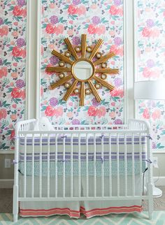 Caitlin Wilson Blooms Petite in White Wallpaper | Room designed by @shoplikeadesigner