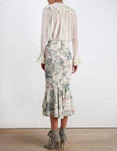 Zimmermann Cavalier Ruffle Blouse. Model Image. Our model is 5 11 and is wearing a size 0