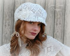 Lace Newsboy Hat by GreenTrunkDesigns on Etsy