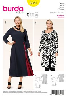 e5885cf94a2 Woman's Easy to Sew, Plus Size, Pullover Dress, Summer Dress or Tunic,  Gathered Bodice, Hi-Lo Hem, Burda Style Pattern 6674-Uncut