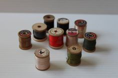 WOODEN SPOOLS of THREAD, vintage wood spools, vintage thread, vintage sewing supplies, crafters supplies,arts and crafts,gift for seamstress