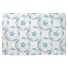 White Pearls on Aqua Soccer Ball Hand Towels.