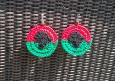 "Crochet Earrings ""Africa Medallions"" by FunkyKnitsnNaturals on Etsy, $15.00"