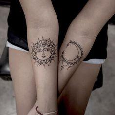 Beautiful sun/moon tattoo. #tattoo #sun #moon Found @ turan.art on Instagram