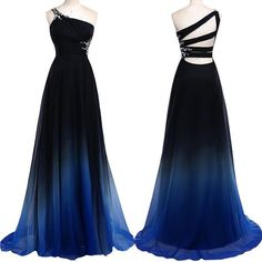 Noble Rhinestone Design One-Shoulder Ombre Color Pleated Prom Dress For Women (DEEP BLUE,L) in Maxi Dresses | DressLily.com