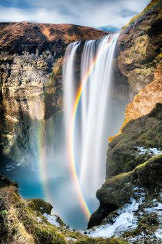 Spectacular Skogafoss, Iceland. A must see for me, in the golden circle, just as stunning even without the beautiful rainbows I bet. you could spend forever chasing those pots of gold, or just enjoy that view.