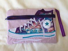 Left-Handed High Top Gym Boot Zipper Pouch Purple Ribbon, Pink Gingham, Cotton Quilting Fabric, Left Handed, Applique Designs, Deep Purple, Zipper Pouch, School Bags, Pouches